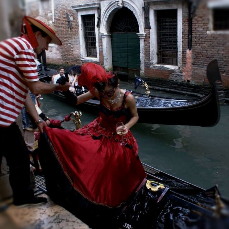 On your way to a masquerade ball in Venice